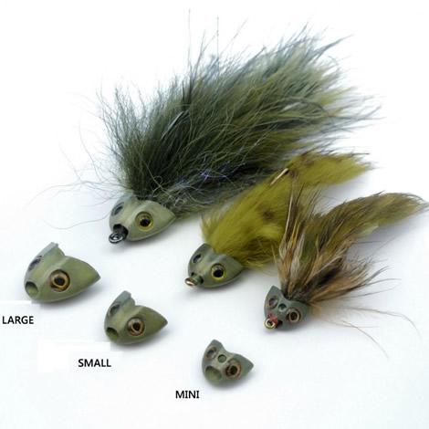 Fish Skull Sculpin Helmet - Mini Olive Head 8 pack Fly Tying
